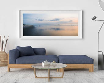 """Outer Banks Coastal Photography, Large Format, Outer Banks Beach Artwork, Summer Sunrise, Matted Panoramic Print, """"Minimalist Sunrise"""""""