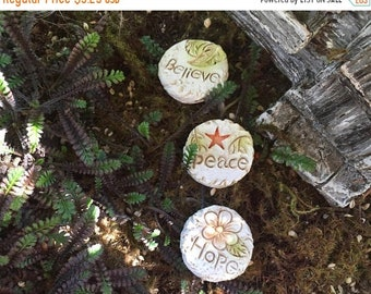 """SALE Mini Stepping Stones, Inspirational Walkway Stones, """"Believe, Peace and Hope"""" Stones, Fairy Garden Accessory, Miniature Home & Garden D"""