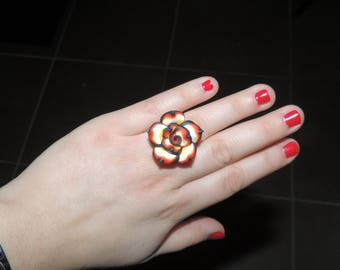 Red and black polymer clay flower ring