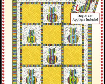 Downloadable Perfect Pets Quilt Pattern Easy 3 Yard Design