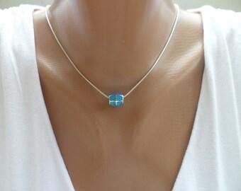 925 Silver Necklace - Blue opal Necklace - Blue Fire Opal Pendant - Beach Necklace - Maritime Pendant - Sea Necklace