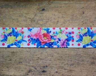"""Polka Dot & Floral 7/8"""" ribbon"""