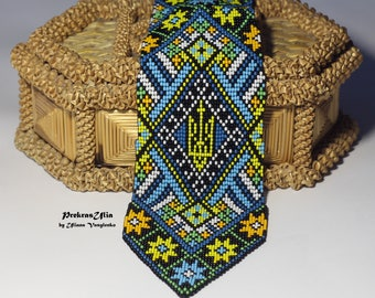 Ukrainian mens tie Ukrainian ornament Emblem of Ukraine Tie Handmade Tie Mens Gift Men Accessories Gift Ukrainian style Ukrainian jewelry