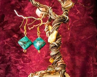 Chrysocolla with nickel free brass hook earrings
