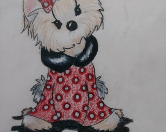 OOAK Original Colored Pencil Drawing of Yorkshire Terrier Yorkie