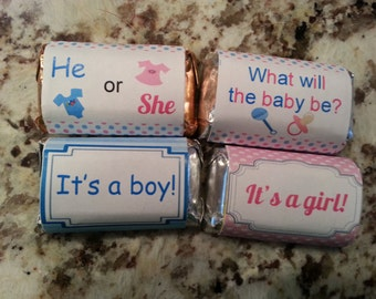 Gender Reveal Mini Candy Bar Wrappers