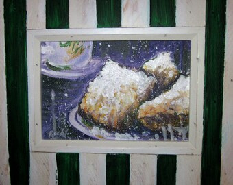 Beignets original painting New Orleans Cafe Du Monde framed