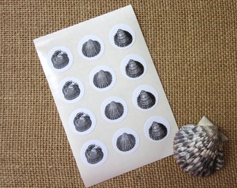 Shell Stickers One Inch Round Seals