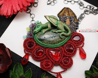 soutache pendant handmade pendant soutache jewelry handmade jewelry pendant dragon pendant green dragon