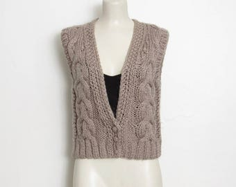 Vintage Sweater Vest / Taupe Cable Knit / Women's 70s Button up Sleeveless Sweater