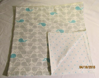 Baby Blanket Teal Grey Whale