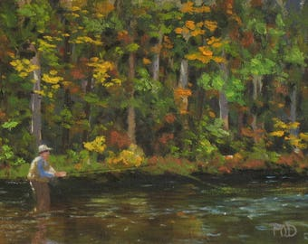 "fly fishing art, original oil painting, 6"" x 8"", autumn landscape"