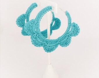 Handmade Crochet Hoop Earrings