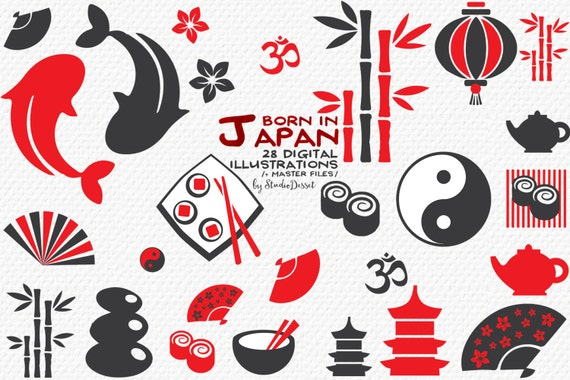 japanese icons japan clipart oriental sushi koi fish bamboo om rh etsystudio com japanese clip art free japanese clip art color book