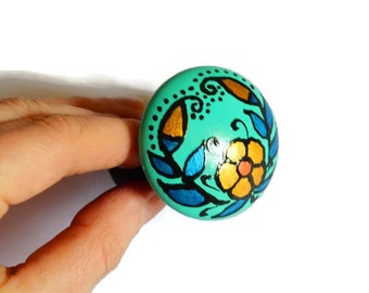 Turquoise green Scrunchy holiday Jewelry wood hair pin Gift Idea|for|her hair accessories everyday jewelry wedding jewelry Hand Painted Wood