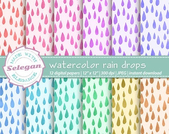 "water color scrapbook paper "" watercolor rain drops "" digital scrapbook paper, rain drop, pattern, printable, 300dpi, background"
