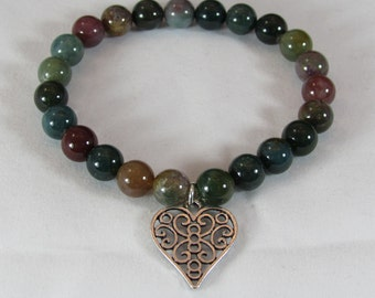 Jasper Stretch Bracelet with Antiqued Silver Heart Charm/ Handmade/ Hand Crafted
