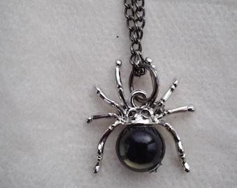 Silver spider necklace , spider pendant ,arachnid pendant,  costume , accessories