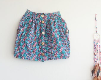XS FLORAL Skirt- Summer Skirt for Women- Floral Fabric- Button Down- Skirt in Vintage- Blue Purple Green Skirt- Vintage Clothing for Women