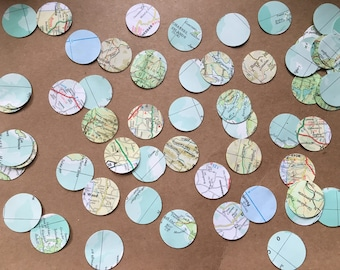 150 travel Confetti Pieces, map/atlas Circles. Weddings, leaving party, travel, bon voyage