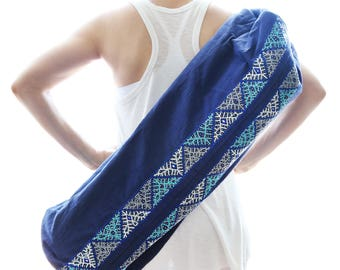 Hand Embroidered Enlightened Yoga Mat Bag - Indigo