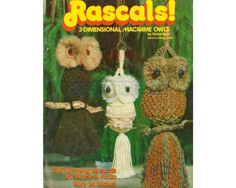 Rascals! - 13 Vintage Macrame Owl Patterns Instant Download PDF 23 pages
