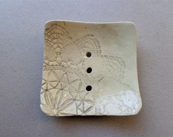 SECOND - Grey lace square ceramic soap dish with drainage holes, gray handmade heart rustic pottery soap holder, housewarming Mother's day