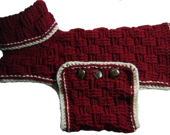 Cozy Canine Sweater - CROCHET PATTERN PDF file.  Dog sweater coat outfit