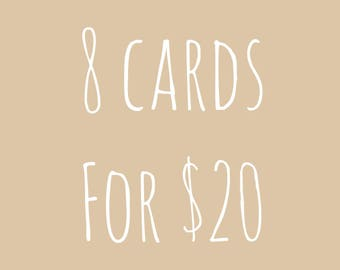 Set of 8 Cards, Greeting Card Set, Card Bundle, Card Deal, Unique Cards, Watercolor Card, Cards for Him, Funny Cards, Mix and Match