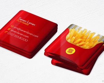 Mini French Fries Cards - Restaurant - Food Blogger - Square Business Cards - Design and Printing - 250, 500, 1000, 2500 | FREE Shipping |