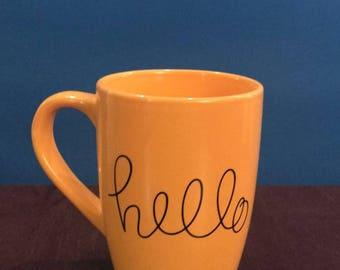 Yellow hello mug