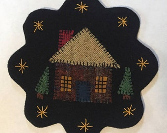 "7.5"" All Wool Top Log Cabin Applique Table Mat or Wall Hanging"