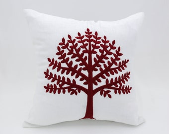 Red Tree Throw Pillow Cover, White Cotton Linen Tree Embroidery, Modern Botanical home pillow case, Holiday Decor, Red Christmas Cushion
