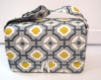 "10% OFF Large 4"" Size Coupon Organizer / Budget Organizer Holder Box - Attaches to Your Shopping Cart - Geo Gray and Mustard Yellow"