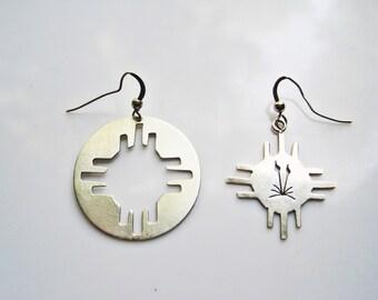 Mismatched Southwestern Sterling Silver Dangle Earrings