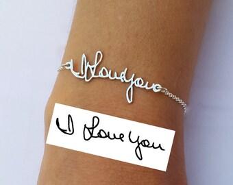 Memorial Bracelet - Personalized Signature Bracelet - Handwriting Jewelry - Sterling Silver