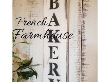 """BAKERY SIGN/Bakery Decor/Kitchen Signs/Farmhouse kitchen Decor/Vertical Bakery Sign/22"""" X 5 1/2""""/Hand Painted/Kitchen Signs"""