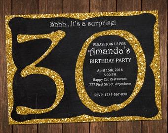 30th Birthday Invitation, Gold Glitter Birthday Party Invite, Adult Surprise Birthday, Chalkboard Birthday Invitation