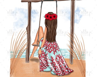 Beach Scene Illustration / Elle Dolls / Elle P. Dolls / Beach Scene / 2018 Summer Scene Illustration