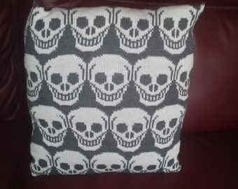 "Handmade knitted ""skulls"" cushion cover complete with infill"
