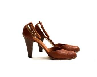 vintage 80s brown leather heels / Nickels ankle strap shoes  8 AA