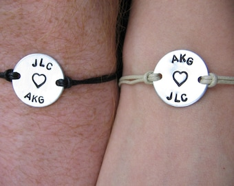 His and Hers bracelets (set of 2) - personalized with names, date, initials, heart, hearts, couples, his and her, hand stamped, custom, bff