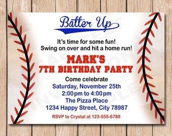Baseball Birthday Invitation | Batter Up - 1.00 each printed
