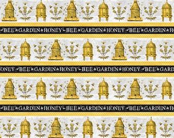 Half Yard Fabric-A Bees Life-Beehive Text Border Stripe
