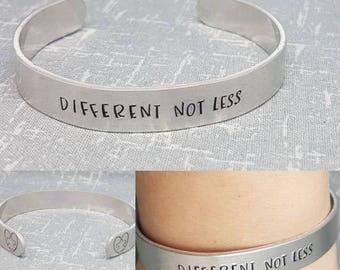 Different Not Less - Autism Awareness - Aluminium Cuff Bracelet