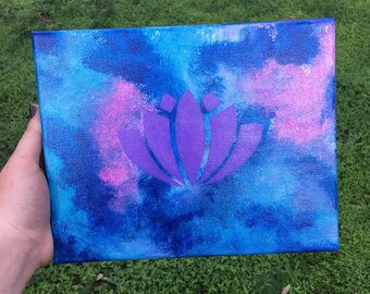 """New original wall art, acrylic painting, picture,Artisan crafted  """"Lotus flower painting"""" Home decor * accent piece"""