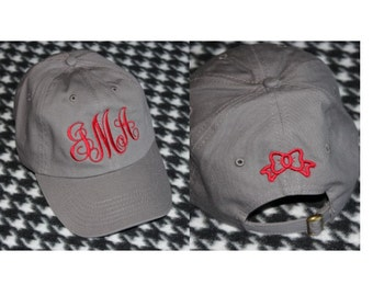 Monogrammed Ball Cap With Embroidered Bow on Back