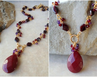 Red Garnet Cluster Necklace.Multi Gemstone.Jade Pendant.Purple Amethyst.Bridal.Multi colors.Lariat.Gold.Silver.Beaded.Colorful.Handmade.
