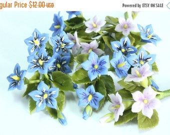 Miniature Polymer Clay Flowers Supplies for Dollhouse Violet with leaves, 12 Bunches