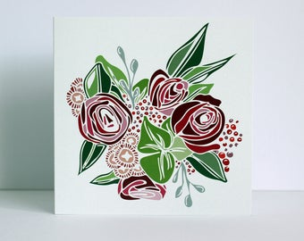 Bouquet Rose Floral Greetings Card
